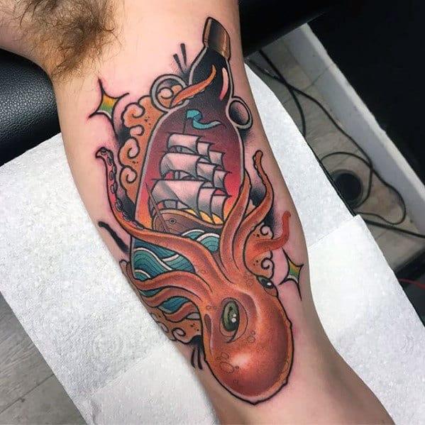 Mens Arm Old School Traditional Octopus Tattoos