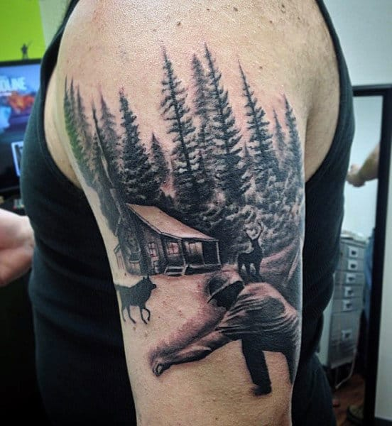 Men's Arm Pine Tree Forest Tattoo