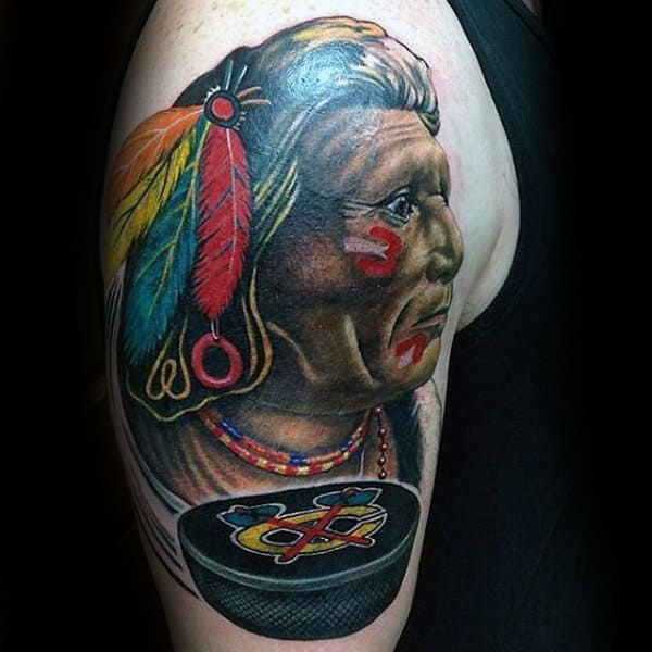 Mens Arm Puck Chicago Blackhawks Hockey Tattoo Design Inspiration