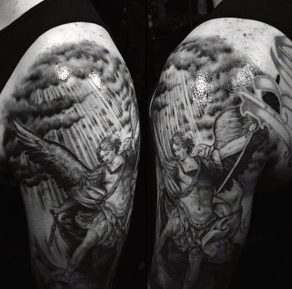 Men's Arm Saint Micheal Tattoo
