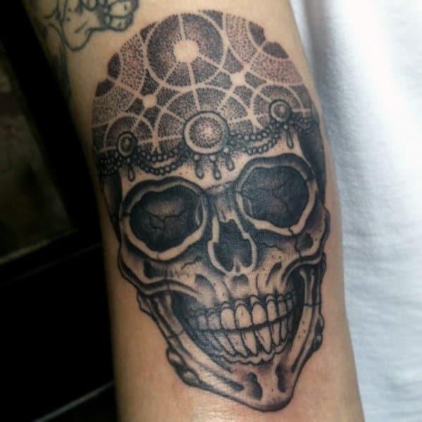 Men's Arm Skull Tattoo