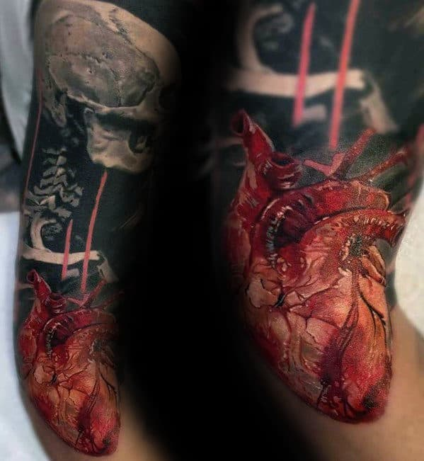 Mens Arm Sleeve Anatomical Heart Realistic Tattoo Ideas