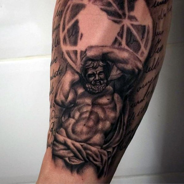 Mens Arm Sleeve Atlas Negative Space Tattoo Designs