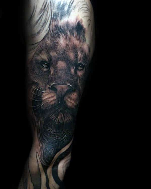Mens Arm Sleeve Tattoos Of Lion