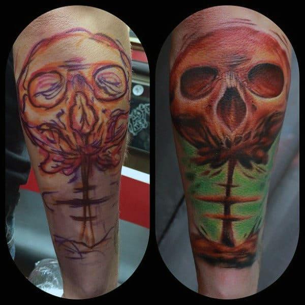 Mens Arm Smoky Skull Bomb Burst Tattoos