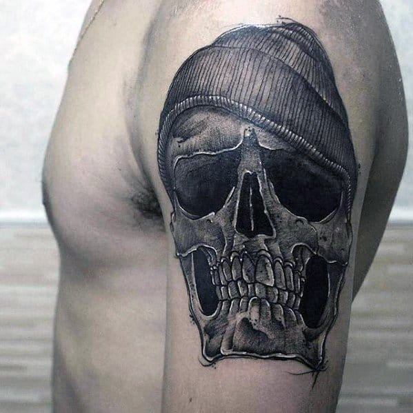 Mens Arm Tattoo Ideas With Badass Skull Design