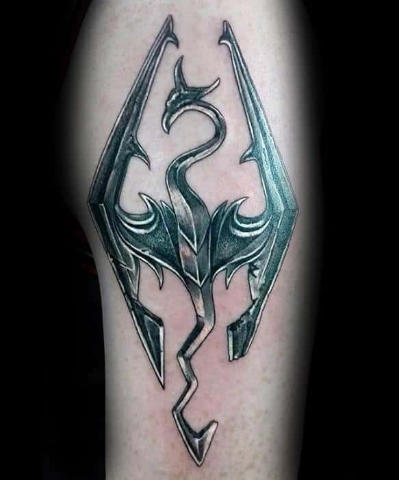 Mens Arm Tattoo Ideas With Skyrim Metallic Chrome Symbol Design