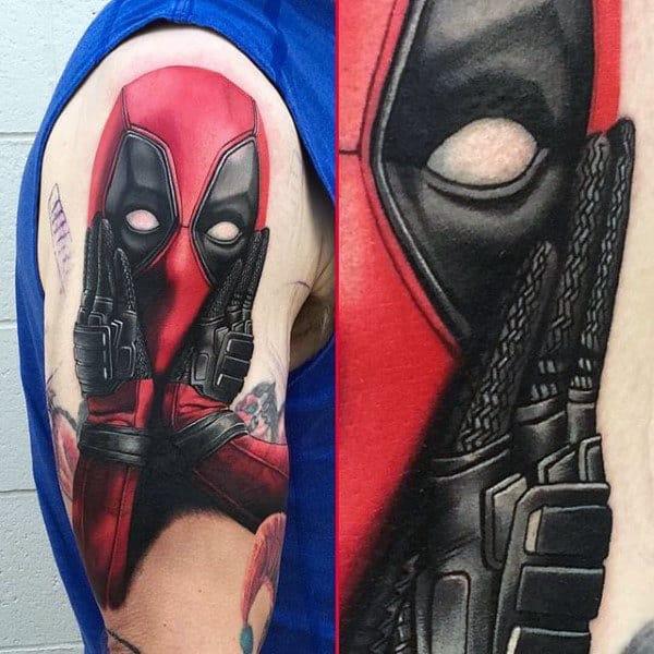 Mens Arm Tattoo Of Deadpool