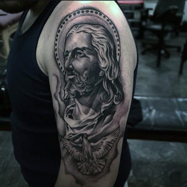 Mens Arm Tattoo Of Jesus With Flying Dove