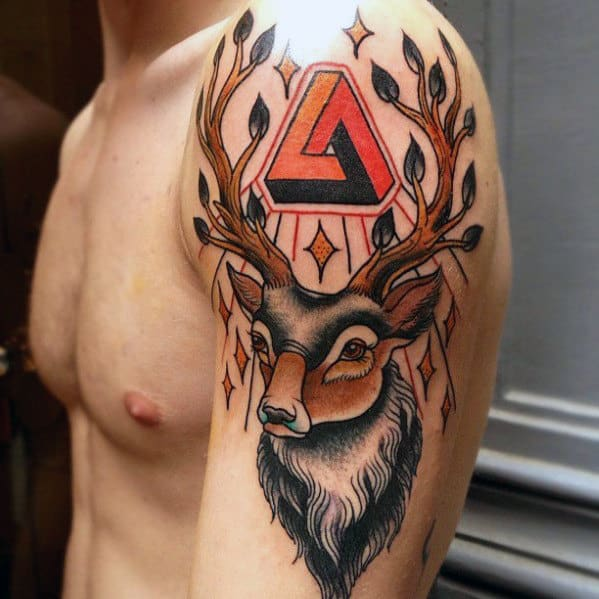 Mens Arm Traditional Deer Tattoo Designs