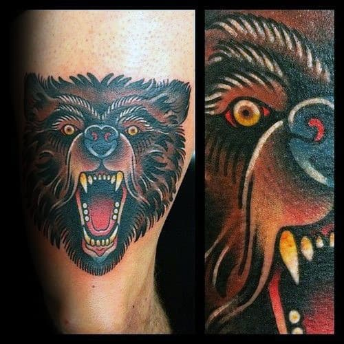 Mens Arm Traditional Tattoo Design With Bear