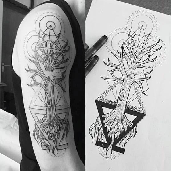Mens Arm Tree Of Life Geometric Tattoo Design Ideas