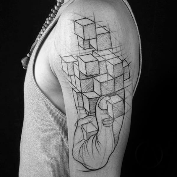 Mens Arm Unique 3d Geometric Cubes Tattoo