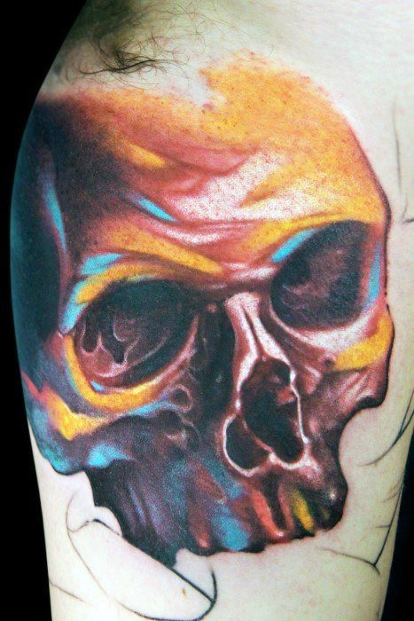 Mens Arm Watercolor Skull Tattoo Design Ideas