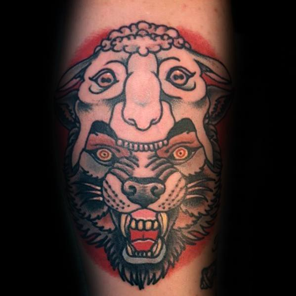 Mens Arm Wolf In Sheeps Clothing Tattoo Design Inspiration
