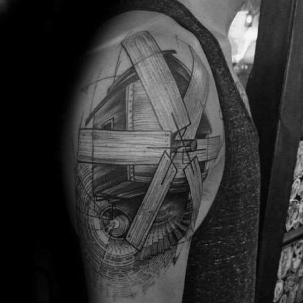 Mens Arm Wood Windmill Tattoo Design Inspiration