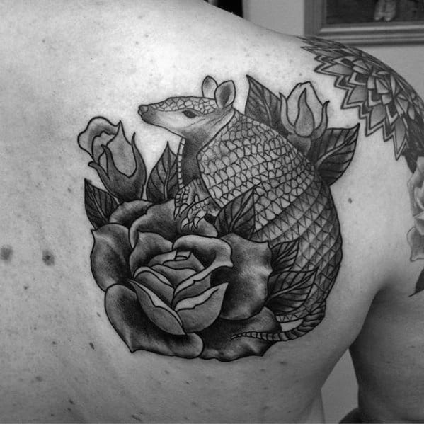 Mens Armadillo Shoulder Blade Shaded Tattoo Design Ideas