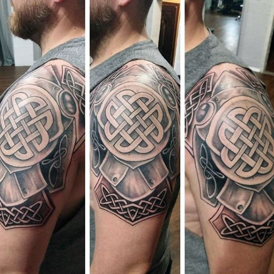 Mens Armor Celtic Knot Upper Arm And Shoulder Tattoo