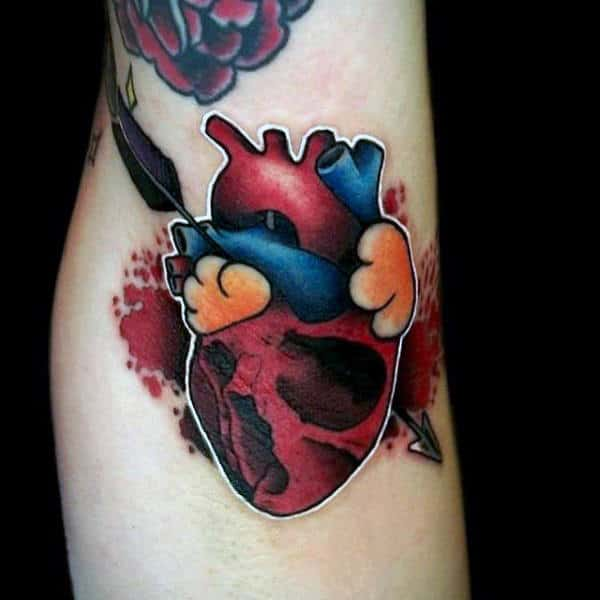 Mens Armpit Heart Tattoo With A Feather