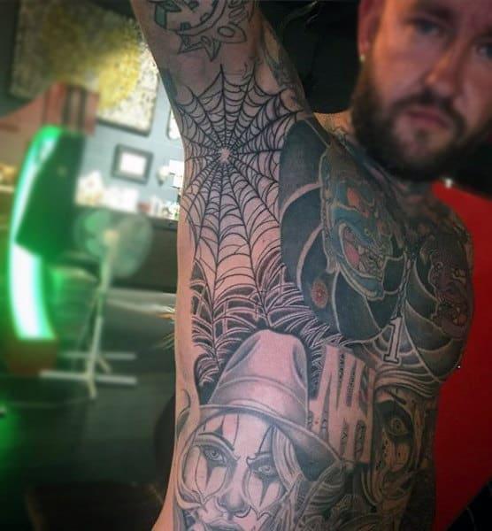 Mens Armpit Spider Web Tattoos