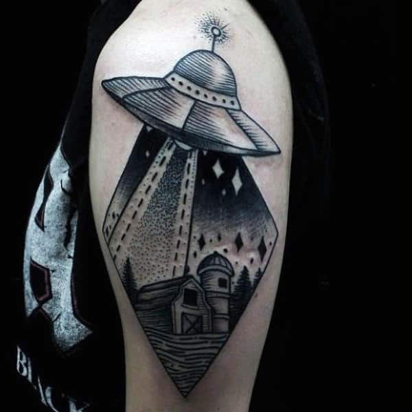 Mens Arms 3D Grey Ufo Tattoo