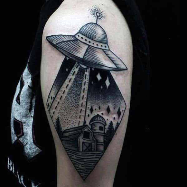 Mens Arms 3D Grey Ufo Tattoo