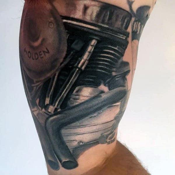 Mens Arms Antique Engine Tattoo