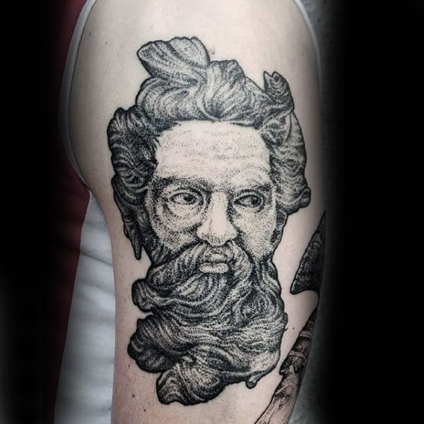 Mens Arms Bearded Gray Man Dotwork Tattoo