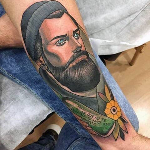 Mens Arms Beared Man Neo Traditional Tattoo