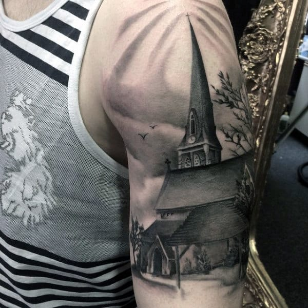 Mens Arms Black And Grey Church With Steeple Tattoo