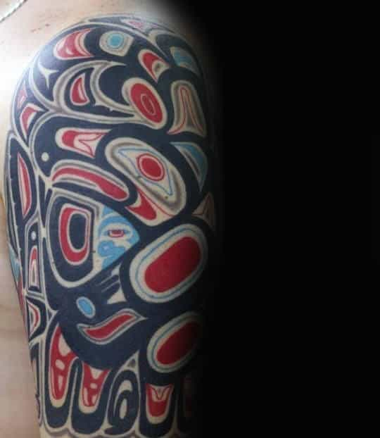 Mens Arms Black And Red Haida Tattoo