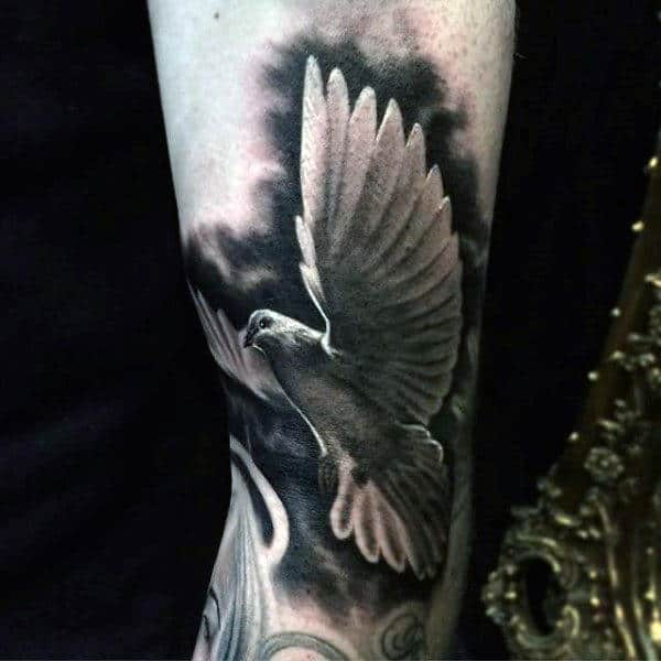Mens Arms Black And White Dove Tattoo