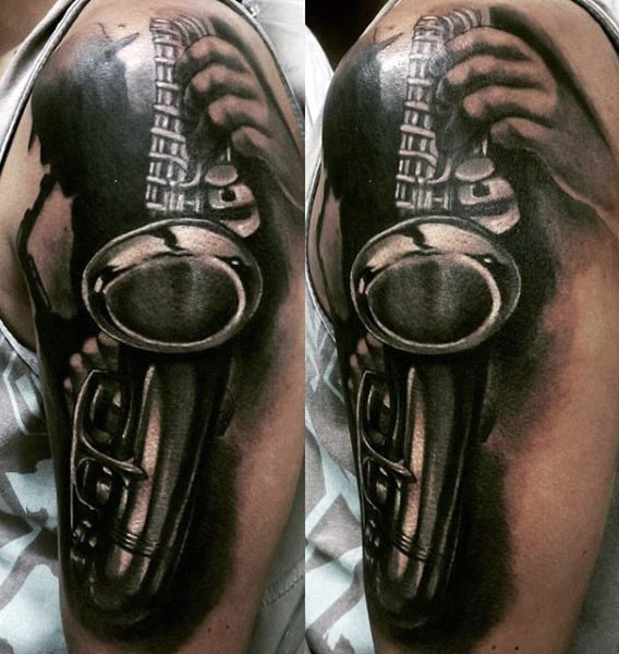 Mens Arms Black And White Saxophone Tattoo