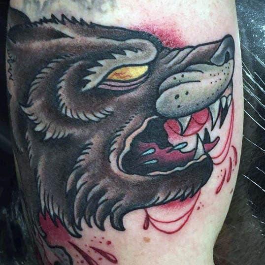 Mens Arms Bloddy Beast Neo Traditonal Tattoo