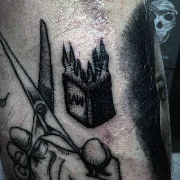 Mens Arms Burning Law Book And Scissor Tattoo