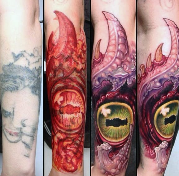 Mens Arms Colorful Crystal Clear Eye Tattoo