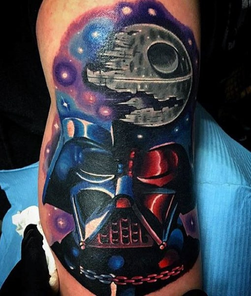 Mens Arms Colorful Universe Darth Vader Tattoo