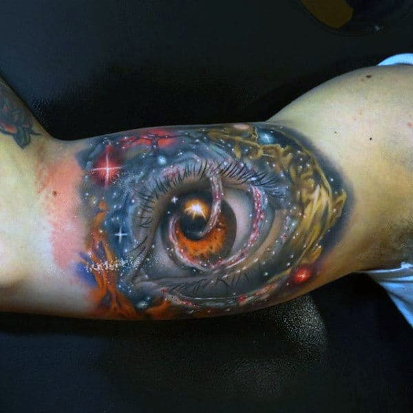 Mens Arms Cool Amber Eyed Tattoo