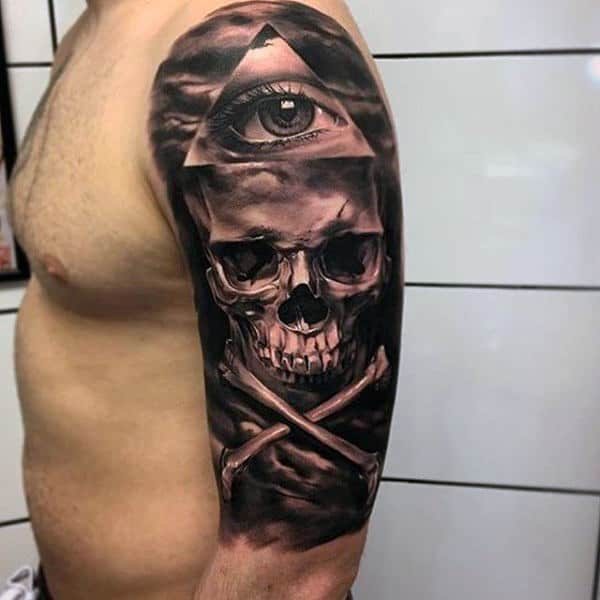 Mens Arms Cool Bone Skull And One Eyed Triangle Tattoo