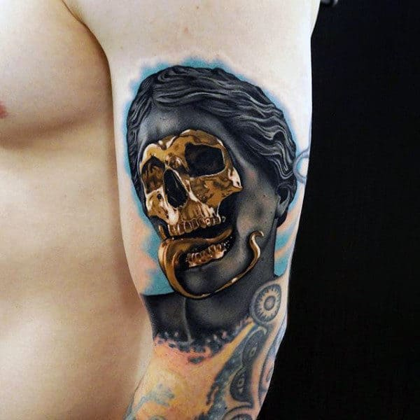 Mens Arms Cool Golden Skull Tattoo