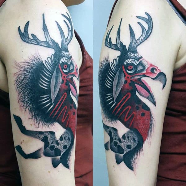 Mens Arms Cool Tattoo Of Horned Beast
