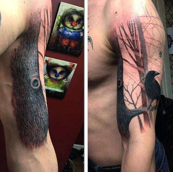Mens Arms Crow On Oak Tree Branch Tattoo