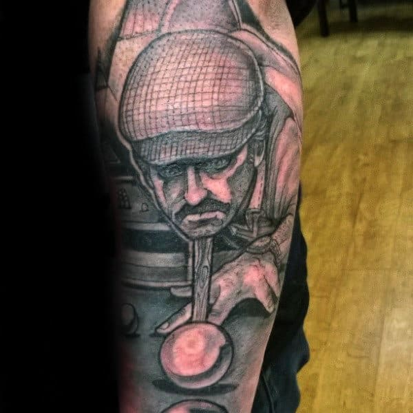 Mens Arms Dad Playing Snooker Tattoo