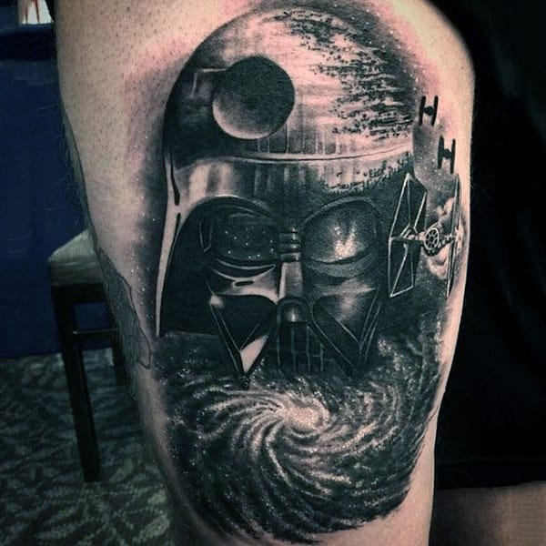 Mens Arms Dotted Gray Darth Vader Tattoo