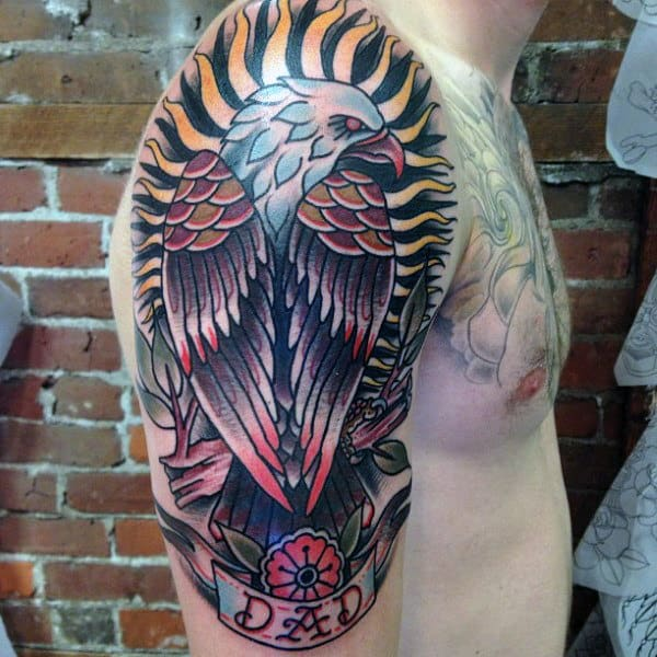 Mens Arms Enormous Eagle And Dad Tattoo