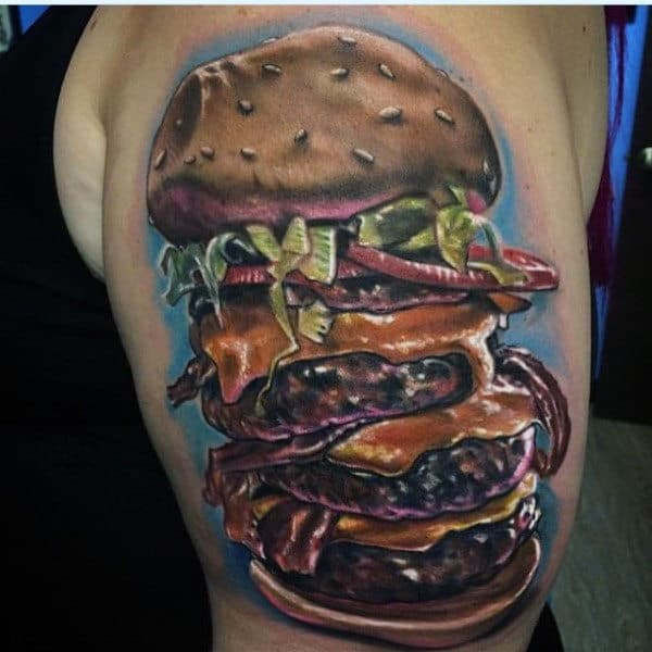 Mens Arms Fantastic Large Burger Food Tattoo