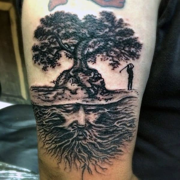 Mens Arms Golfing Under Tree With Wise Man Roots Tattoo