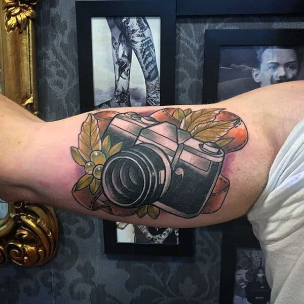 Mens Arms Grapes And Camera Tattoo