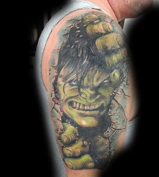 Mens Arms Hairy Hulk Opening Wall Tattoo
