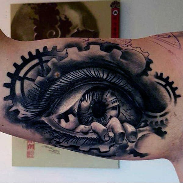 Mens Arms Hands Coming Out Of Eye Tattoo